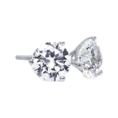 2 Ct Round Cut Martini Diamond Earrings Solid 14k White Gold Screw Back Studs - Glamour Life Diamonds