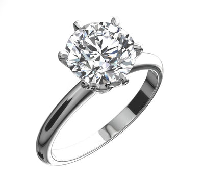 3 Ct. Round Cut Diamond Solitaire Engagement Ring in Solid 14K White Gold - Glamour Life Diamonds