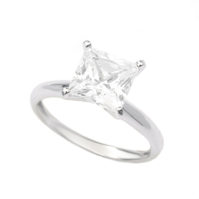2.5 Ct. Princess Cut Diamond Solitaire Engagement Ring Solid 14K White Gold - Glamour Life Diamonds