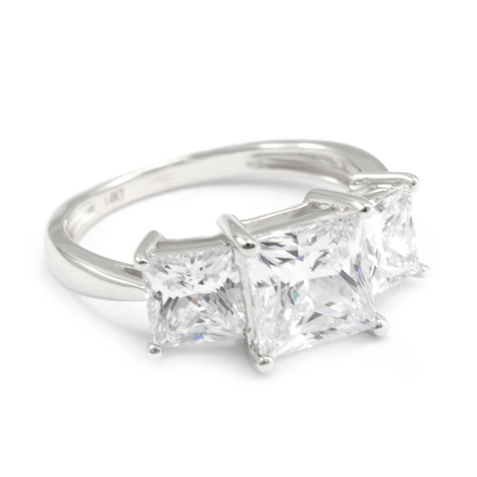 3 Ct  Princess Cut 3 Stone Ring, Solid 14k Gold Ring, Diamond Engagement  Ring, White Gold