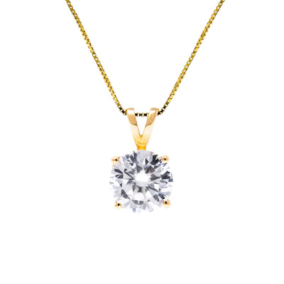 1 Ct. Round Cut Solid 14k Yellow Gold Solitaire Pendant Necklace - Glamour Life Diamonds