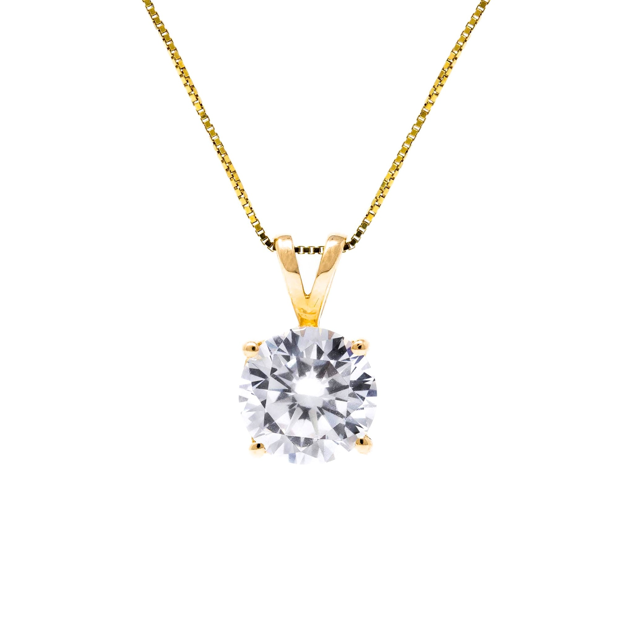 2 Ct Round Cut Solid 14k Yellow Gold Solitaire Pendant Necklace Glamour Life Diamonds