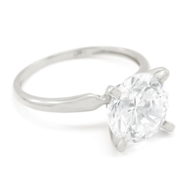 3 Ct. Round Cut Solitaire Solid 14K White Gold Engagement Ring - Glamour Life Diamonds