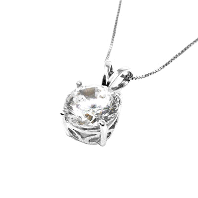 3 Ct Round Cut Brilliant Diamond Pendant in Solid 14k White Gold Necklace - Glamour Life Diamonds