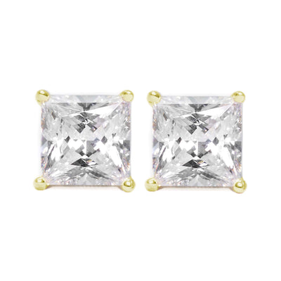 4 Ct. Princess Solid 14K 18k Yellow Gold Earrings Studs Screwback - Glamour Life Diamonds