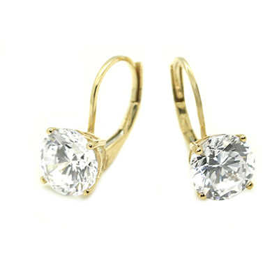 3 Ct. Round Cut Leverback Solid 14k 18k Yellow Gold Earrings