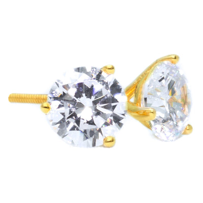 4 Ct Round Cut Martini Diamond Earrings Solid 14k Yellow Gold Screw Back Studs - Glamour Life Diamonds