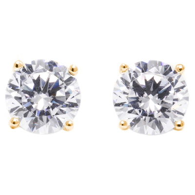 1.5 Ct. Round Earrings Solid 14K Yellow Gold Basket Screw Back - Glamour Life Diamonds