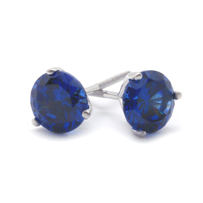 1 Ct Blue Round Martini Earrings in Solid 14K White Gold Screw Back Studs - Glamour Life Diamonds