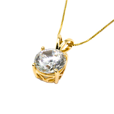3 Ct. Round Cut Solid 14k Yellow Gold Solitaire Pendant Necklace - Glamour Life Diamonds