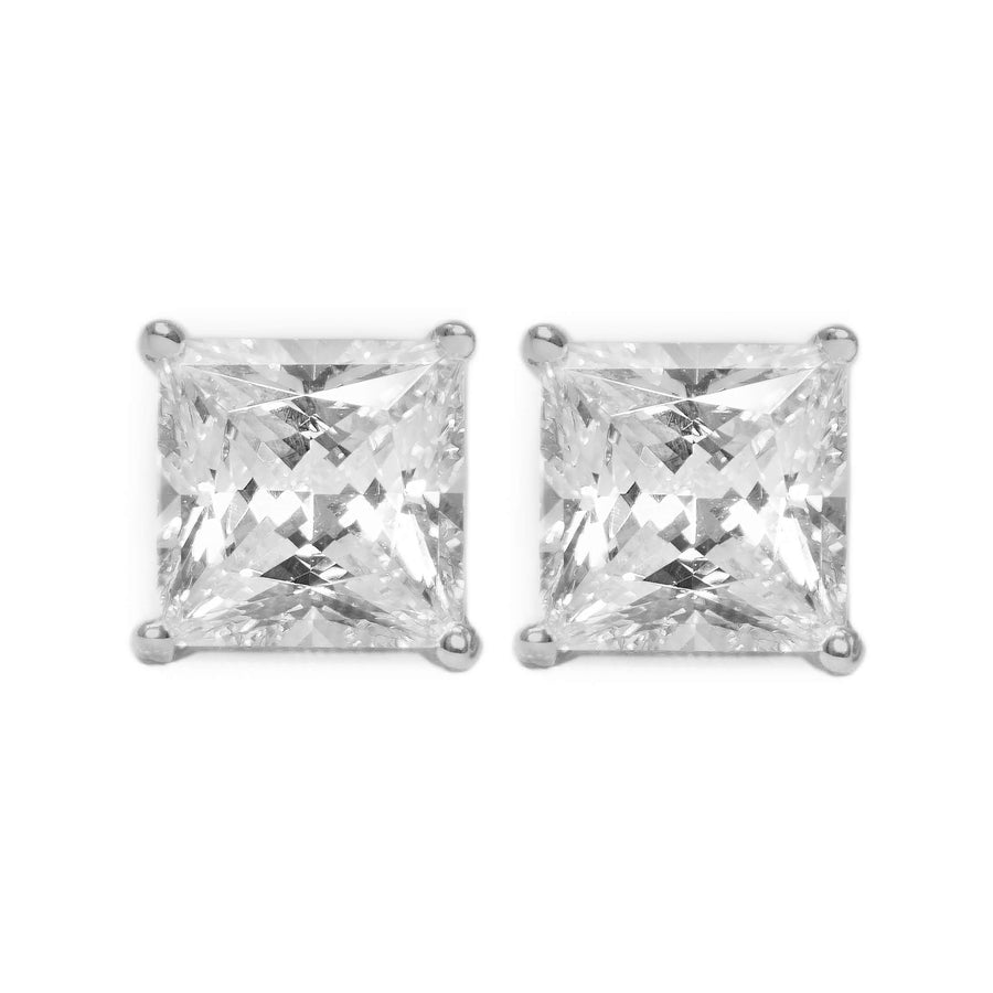 bd699476a 1 Ct. Princess Solid 14K White Gold Earrings Studs Screwback - Glamour Life  Diamonds