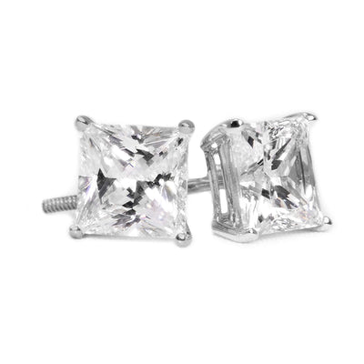 3 Ct. Princess Solid 14K 18K White Gold Earrings Studs Screw backs - Glamour Life Diamonds