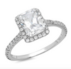 1.7 Ct. Emerald Cut Halo Ring in Solid 14k White Gold - Glamour Life Diamonds
