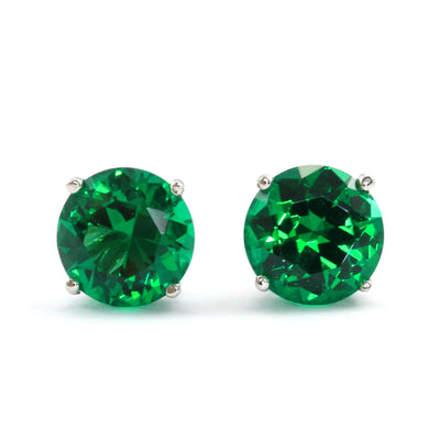 3 Ct. Green Diamond Stud Earrings Solid 14K White Gold Screw Back - Glamour Life Diamonds
