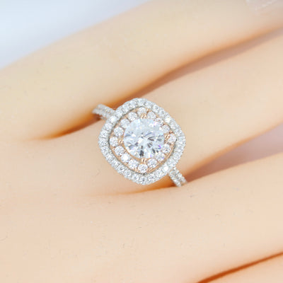 1.8 Ct Round Cut Halo Engagement Wedding Promise Ring Solid 14K White Rose Gold