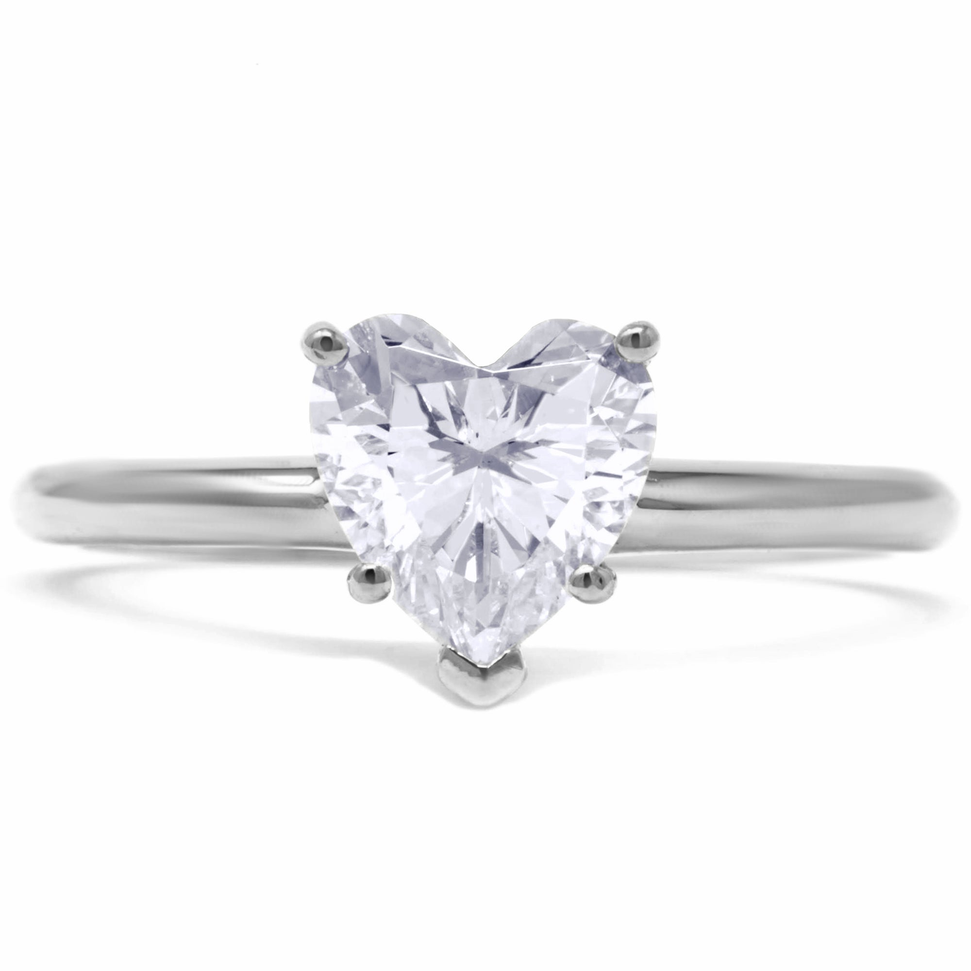 d4ede80c72a92 1 Ct. Heart Shape Solitaire Engagement Ring Solid 14K White Gold - Glamour  Life Diamonds