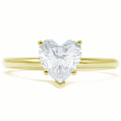 1 Ct. Heart Shape Solid 14K Yellow Gold Solitaire Engagement Ring - Glamour Life Diamonds