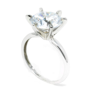3 Ct. Round Solitaire Solid 18K White Gold Engagement Ring - Glamour Life Diamonds