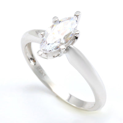 1 Ct. Marquise Solid 14K White Gold Solitaire Engagement Ring - Glamour Life Diamonds