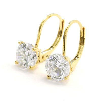 4 Ct. Round Cut Lab Diamond Lever back Solid 14k Yellow Gold Earrings - Glamour Life Diamonds