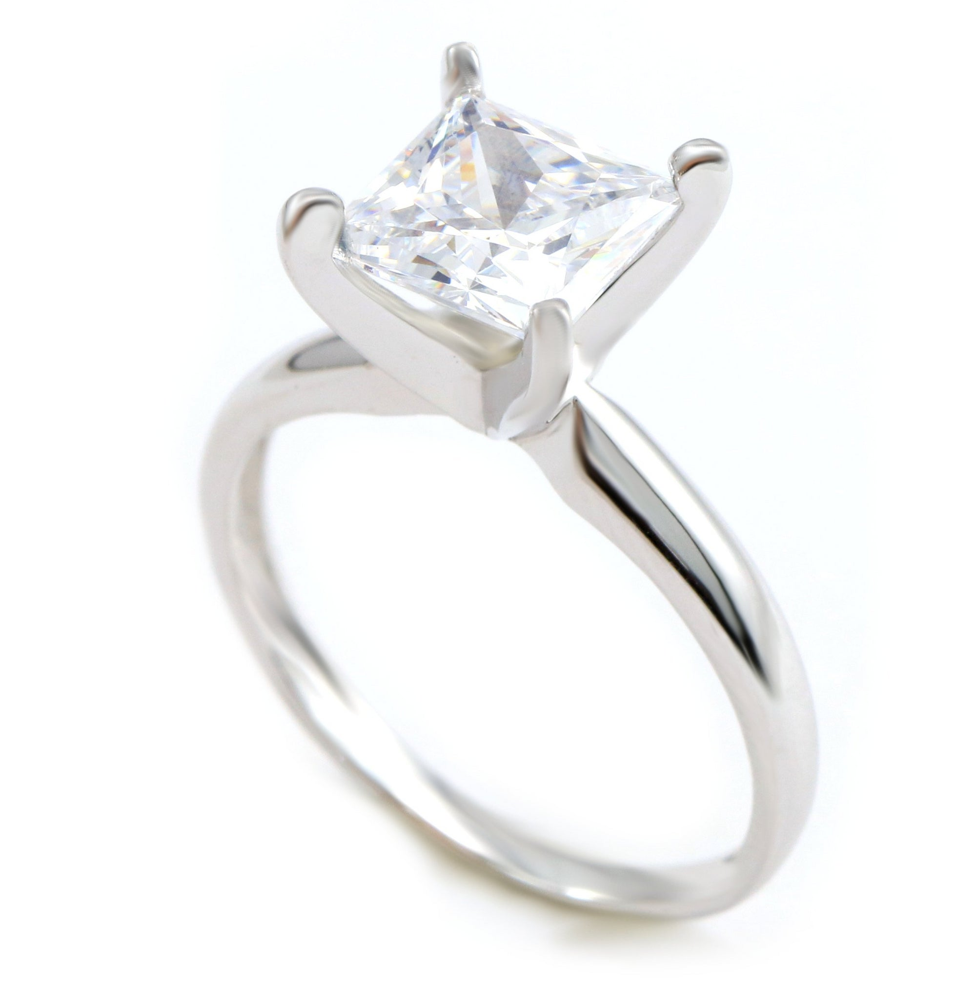cd3064227ae66 1.5 Ct. Princess Cut Solitaire Solid 14K White Gold Engagement Ring