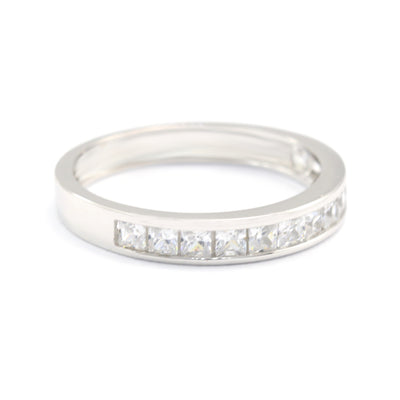 0.5 Ct. Princess Band 14-Stone Accent Solid 14k White Gold Anniversary Ring - Glamour Life Diamonds