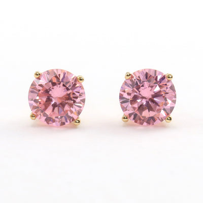 2 Ct. Round Cut Pink Diamond Earrings Solid 14K Yellow Gold Screw back - Glamour Life Diamonds