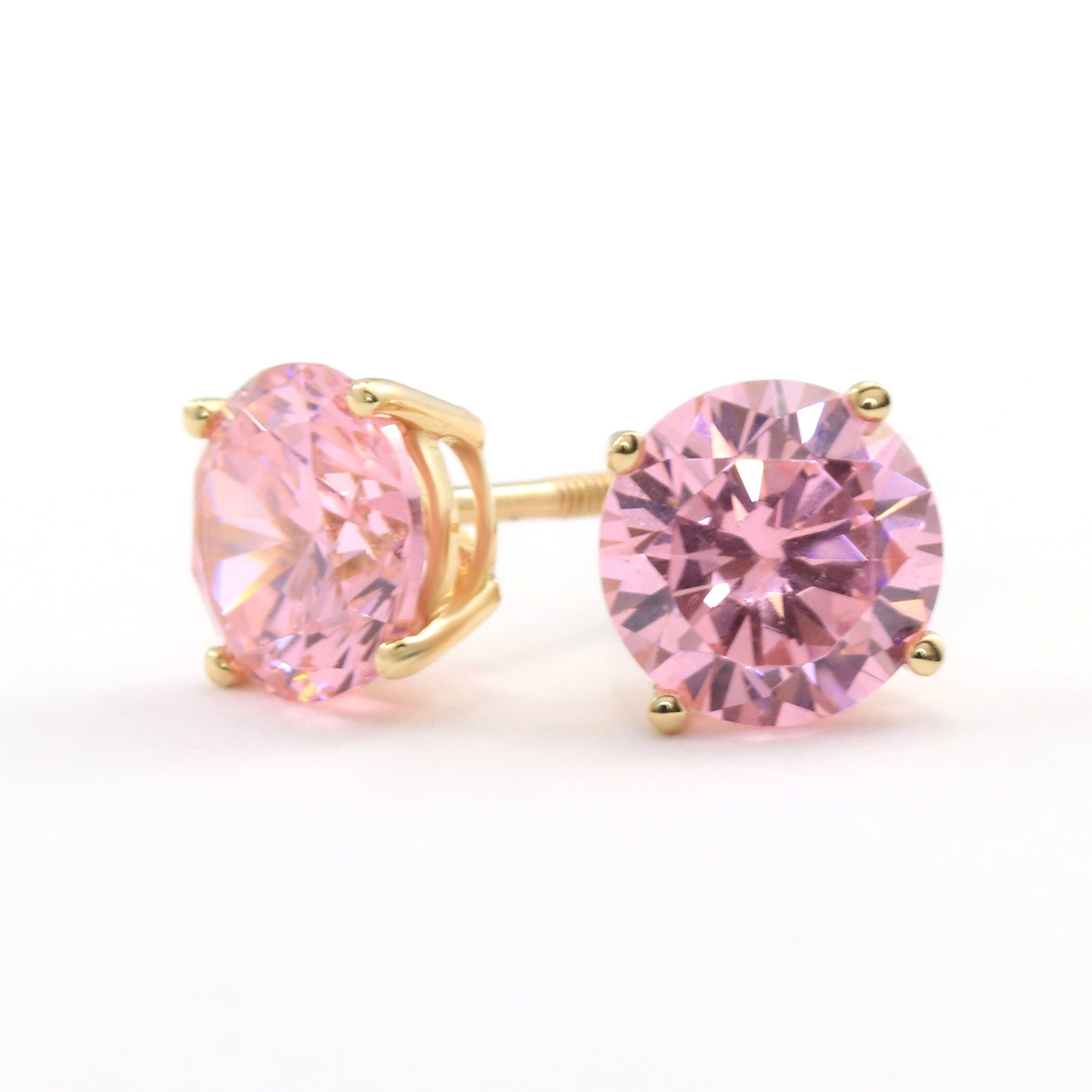 3 Ct Round Blue Earrings Studs Solid 14K Rose Pink Gold Screw Back Basket