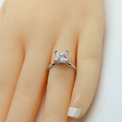 1.5 Ct. Princess Cut Solitaire Solid 14K White Gold Engagement Ring - Glamour Life Diamonds