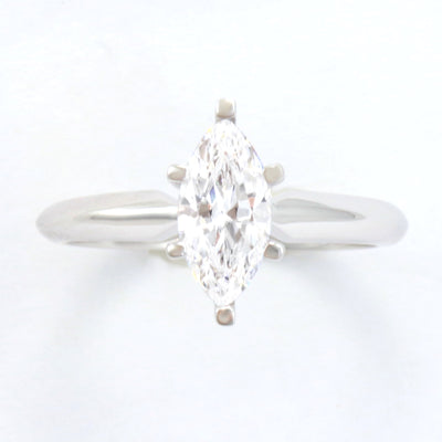 2 Ct. Marquise Solid 14K White Gold Solitaire Engagement Ring - Glamour Life Diamonds