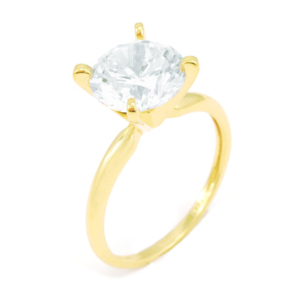 3 Ct. Round Cut Solitaire Solid 14K Yellow Gold Engagement Ring - Glamour Life Diamonds