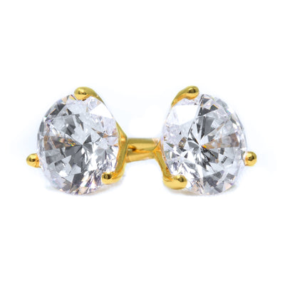2 Ct Round Cut Martini Diamond Earrings Solid 14k Yellow Gold Screw Back Studs - Glamour Life Diamonds