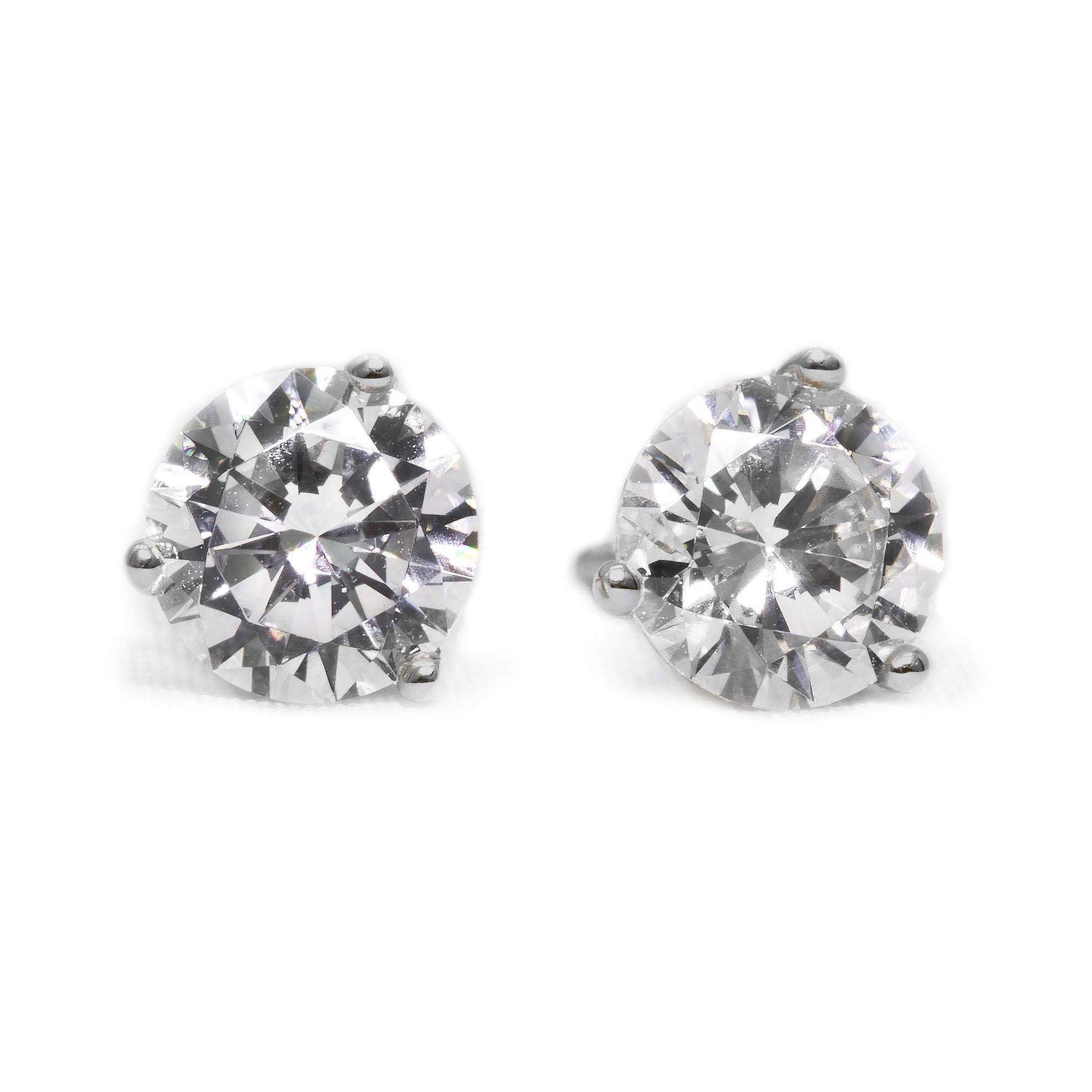5b4dcc203 1.5 Ct Round Cut Martini Diamond Earrings Solid 14k White Gold Screw Back  Studs - Glamour