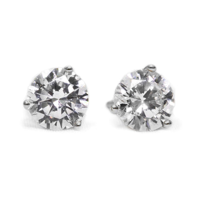3 Ct Round Cut Martini Diamond Earrings Solid 14k White Gold Screw Back Studs - Glamour Life Diamonds