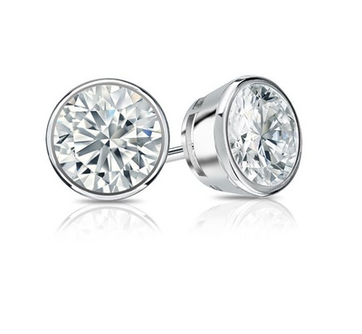 1.5 Ct. Round 14K White Gold Bezel Earrings Screw Back - Glamour Life Diamonds