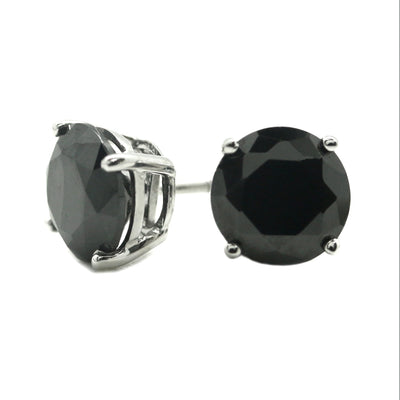 3 Ct. Round Cut Black Earrings Solid 14K 18k White Gold Screw back studs - Glamour Life Diamonds