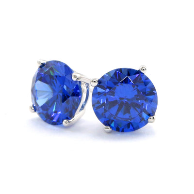 3 Ct Round Blue Earrings Studs Solid 14K 18k White Gold Brilliant Screw Back Basket - Glamour Life Diamonds