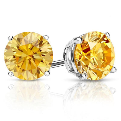 2 Ct. Canary Yellow Round Cut Earrings Solid 14K White Gold Screwback - Glamour Life Diamonds