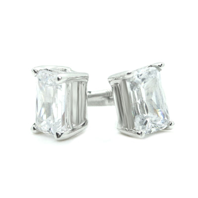 2 Ct. Emerald Cut Solid 14K White Gold Earrings Studs Screw Back - Glamour Life Diamonds