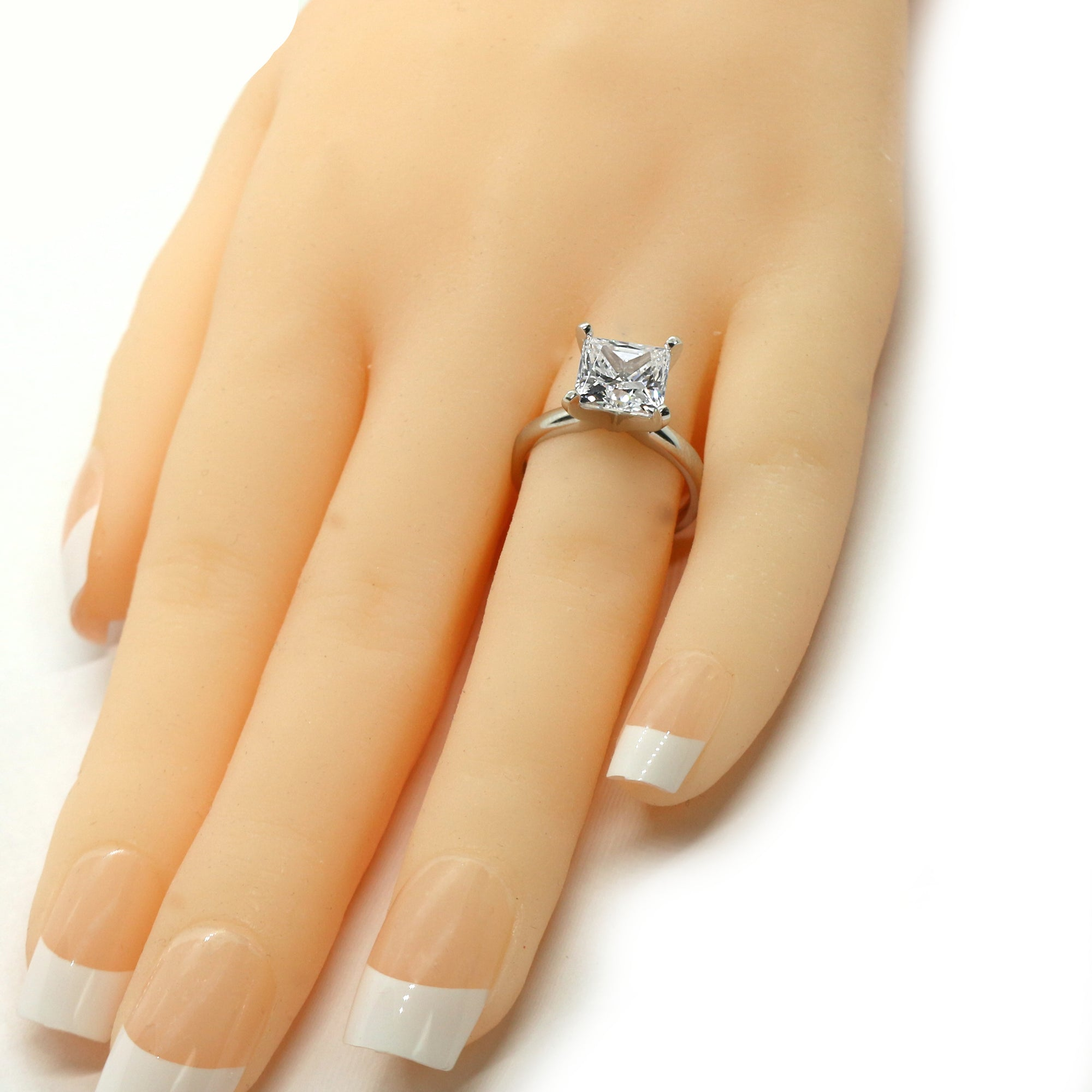 2.5Ct Princess-Cut Diamond Solitaire Engagement Ring 14k White Gold Over