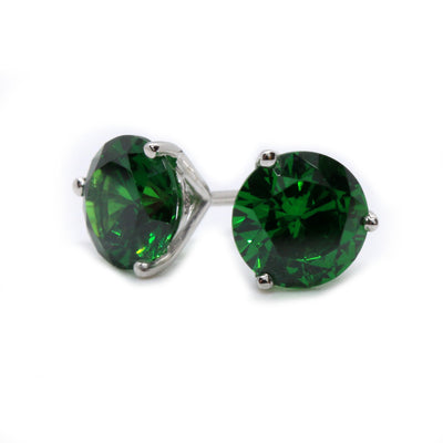 1 Ct Green Round Martini Earrings in Solid 14K White Gold Screw Back Studs - Glamour Life Diamonds