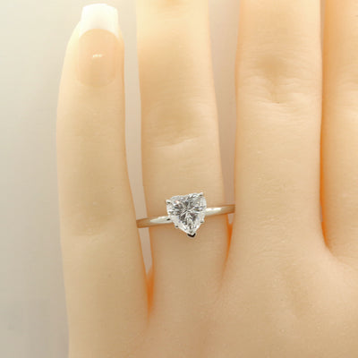 1 Ct. Heart Shape Solitaire Engagement Ring Solid 14K White Gold - Glamour Life Diamonds