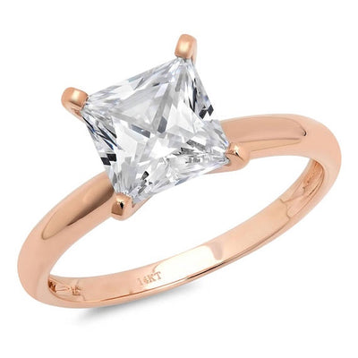 2 Ct. Princess Solitaire Solid 14K Rose Gold Engagement Ring - Glamour Life Diamonds