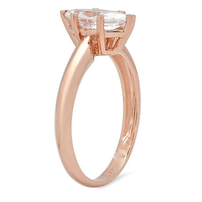 1 Ct. Marquise Solitaire Solid 14K Rose Gold Engagement Ring - Glamour Life Diamonds