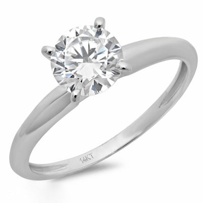 1.5 Ct. Round Cut Solitaire Solid 14K White Gold Engagement Ring - Glamour Life Diamonds