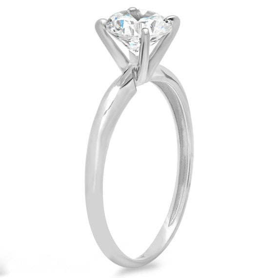 1.00 Ct Round Cut Solitaire Engagement Wedding Ring Solid 14K White Gold