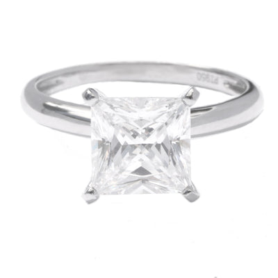2.5 Ct. Princess Cut Diamond Solitaire Engagement Ring Solid 18K White Gold - Glamour Life Diamonds