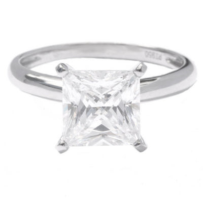 3 Ct. Princess Cut Solitaire Engagement Ring Solid .950 Platinum - Glamour Life Diamonds