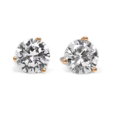 2 Ct Round Cut Martini Diamond Earrings Solid 14k Rose Gold Screw Back Studs - Glamour Life Diamonds