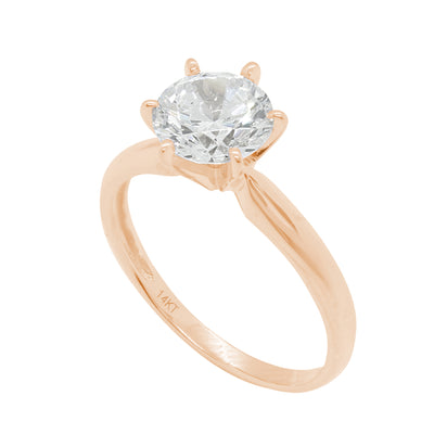 2 Ct. Round Solitaire Solid 14K Rose Gold Engagement Ring - Glamour Life Diamonds